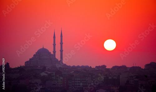 Foto auf AluDibond Koralle Istanbul sunset