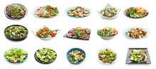 Set Of Different Tasty Salads ...
