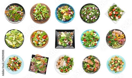 Fotografie, Obraz  Set of different tasty salads on white background