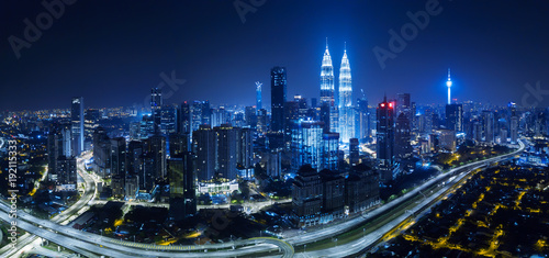 Photo Stands Kuala Lumpur Panorama aerial view in the middle of Kuala Lumpur cityscape skyline .Night scene .
