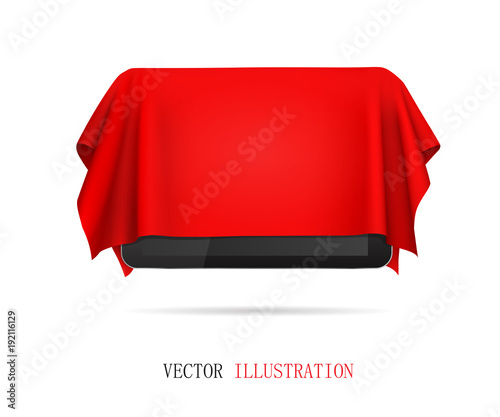 Cuadros en Lienzo Tablet covered red cloth, presentation of new tablet, gift.