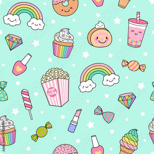 fototapeta na ścianę Cute pastel desserts seamless pattern with star background