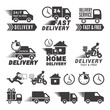 Logos set of fast delivery service. Vector labels isolate on white