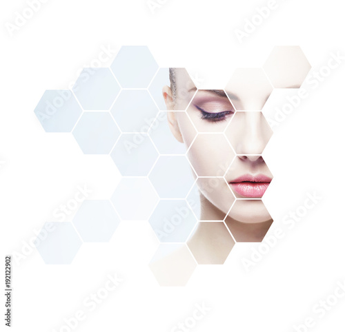 Obraz Portrait of young, healthy and beautiful woman plastic surgery, skin lifting, spa, cosmetics and medicine concept  - fototapety do salonu
