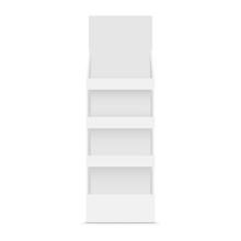 Cardboard POS Display Mockup - Front View. Vector Illustration