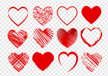 Set Of Red Hearts For Valentines Day On Transparent Background