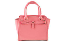 Pink Female Bag On A White Bac...