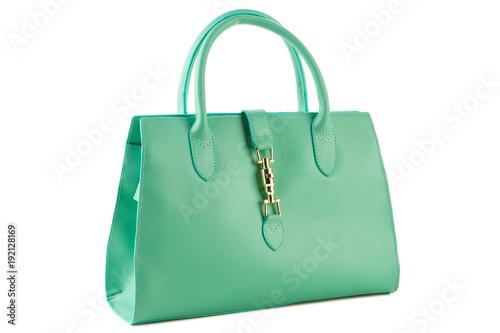 Fotografie, Obraz green female bag on a white background