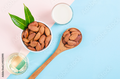 Fototapeta Almonds seed with milk and oil almond. obraz