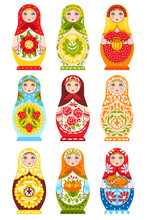 Set Of Nine Colorful Nesting D...