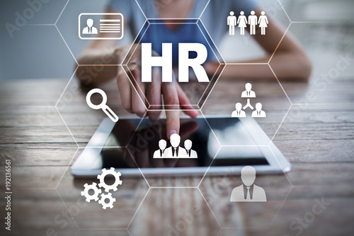 Obraz Human resource management, HR, recruitment, leadership and teambuilding. Business and technology concept. - fototapety do salonu