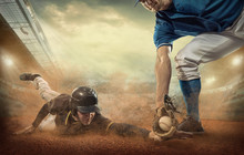 Baseball Players In Action On ...