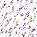 Jednolite wzór delikatne kwiaty i rośliny. Akwarela ilustracja lato i wiosna. Botaniczna konsystencja w fioletowych odcieniach. Elegancki design. Może być stosowany do plakatu, drukowania na tkaninie. - 192141989