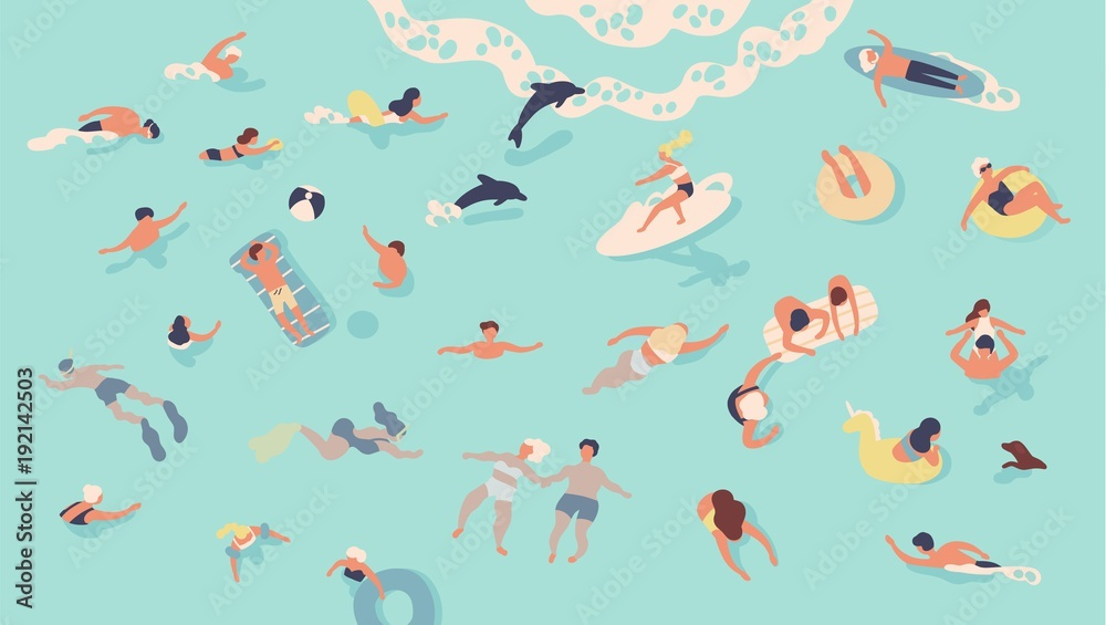 Fototapety, obrazy: People in sea or ocean performing various activities. Men and women swimming, diving, surfing, lying on floating air mattress and sunbathing, playing with ball. Flat cartoon vector illustration.