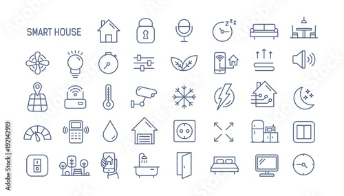 Fotografía  Collection of smart house linear icons - control of lighting, heating, air conditioning