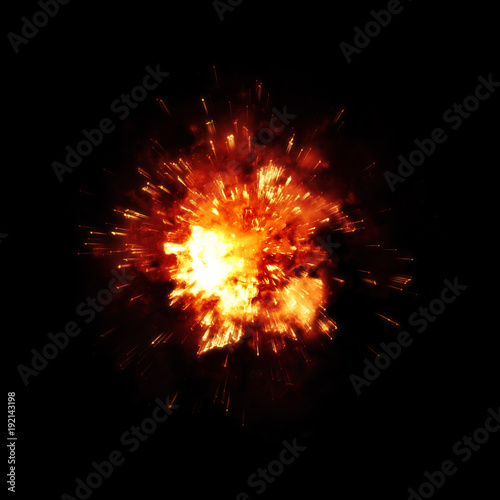obraz lub plakat a detailed fire explosion on black background