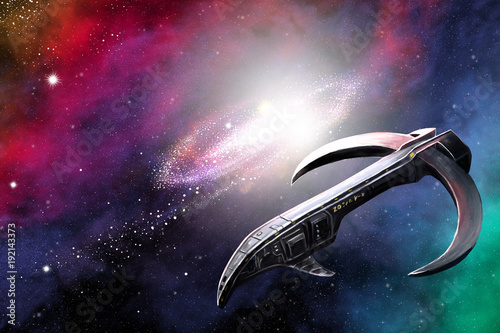 A spaceship in distant space Wallpaper Mural