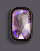 Cartoon Style Bright Purple Precious Stone