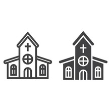 Church Line And Glyph Icon, Ea...