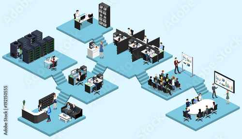 Foto  Isometric vector illustration flat 3d office interior departments concept vector