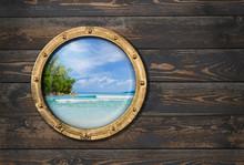 Ship Or Boat Porthole On Woode...