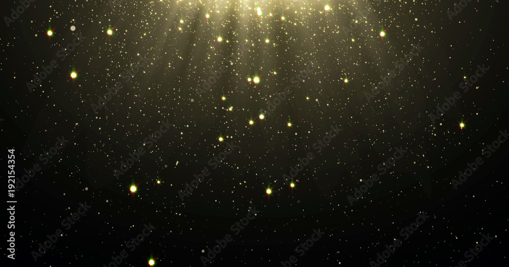 Fototapety, obrazy: Abstract gold glitter particles background with shining stars falling down and light flare or glare overlay effect above for luxury premium product design template backdrop. Magic light radiance