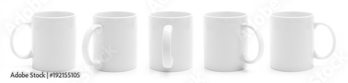 Obraz Set of different views of white cup isiolated on a white background - fototapety do salonu