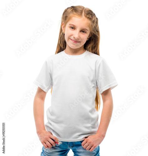 little girl in white t shirt for design template on white background blank copy
