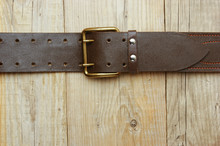 Leather Belt With A Buckle On ...