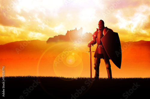 A knight standing on grass field Fotobehang