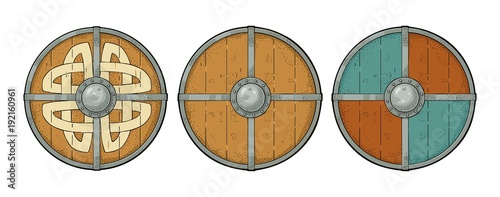 Obraz na plátně Set wood round shields with viking runes, iron border. Engraving