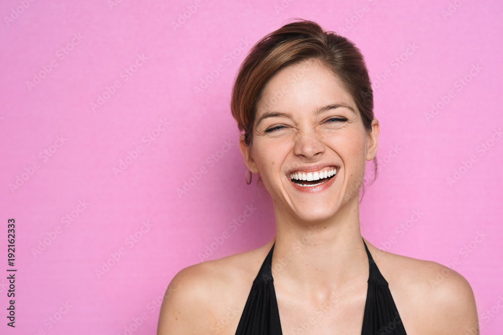 Fototapety, obrazy: Charming laughing model on pink