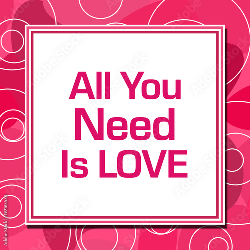 Photo  All You Need Is Love Pink Rings Square