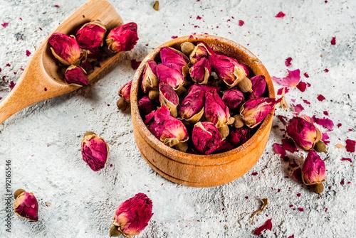 Arab, middle eastern food. Herbal tea with rose buds, copy space Slika na platnu