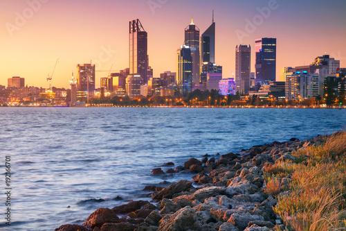 Printed kitchen splashbacks Australia Perth. Cityscape image of Perth skyline, Australia during sunset.