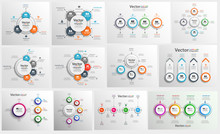 Collection Of Colorful Infographic Can Be Used For Workflow Layout, Diagram, Number Options, Web Design. Infographic Business Concept With Options, Parts, Steps Or Processes. Vector Eps 10