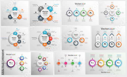 Photo Collection of colorful infographic can be used for workflow layout, diagram, number options, web design