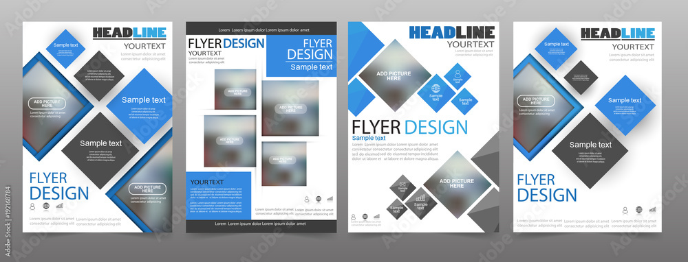 Fototapeta Set of 4 business brochure flyer design templates. Can be use for publishing, print and presentation. Vector. Eps 10