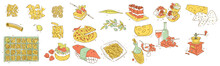 Food To The Table And In The Restaurant, Graphic Illustration