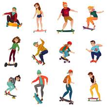 Skateboarders Characters Set
