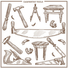 Carpentry Tools Sketch Vector Icons Set For Furniture Repair And Carpenter Woodwork