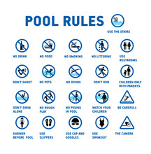 Swimming Pool Rules. Set Of Icons And Symbol For Pool.