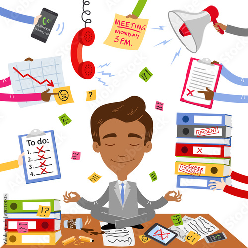Vector Illustration Of A Calm Asian Businessman Sitting On His Desk