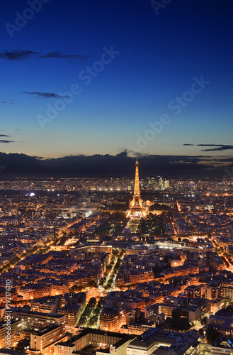 Poster de jardin Paris Night Paris from above.