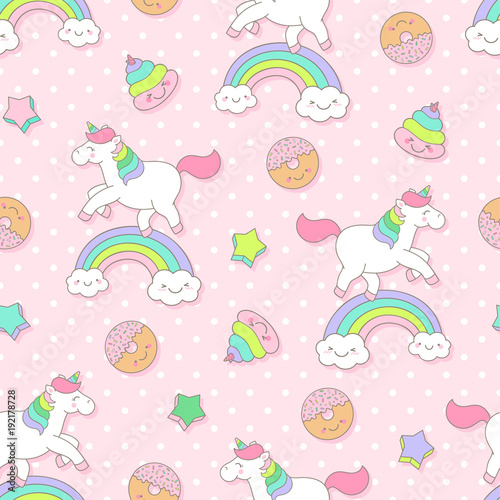 Cute Pastel Unicorn Donut Poop Seamless Pattern With Pink
