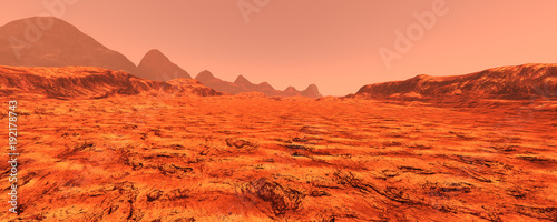 Spoed Foto op Canvas Baksteen 3D Rendering Planet Mars Lanscape