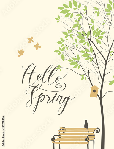 Foto op Canvas Lichtblauw Vector spring landscape with tree, birds, birdhouse and bench with a cat and handwritten inscription Hello Spring
