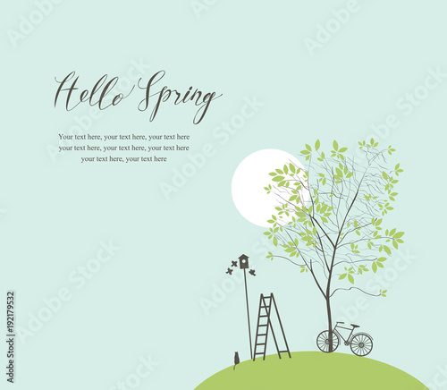Vector banner with handwritten inscription Hello Spring and place for text. Spring landscape with green tree, bike, birds, birdhouse and ladder