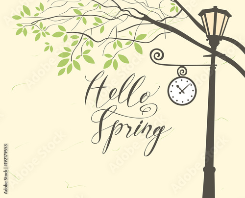 Foto op Canvas Lichtblauw Vector banner with inscription Hello Spring. Spring landscape with green tree in the park and Clock on the lamp post