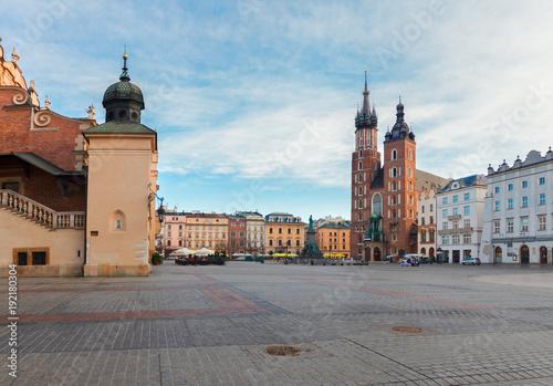 Poster Cracovie Market square in Krakow, Poland